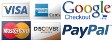 We accept American Express, Discover, Visa, and MasterCard.